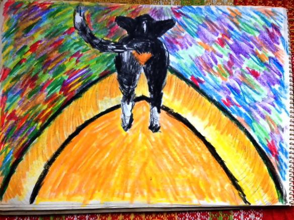 Dit is Beau de hond voor op de boot. Tekening gemaakt door Hanna, de toenmalige vriendin van mijn vader.