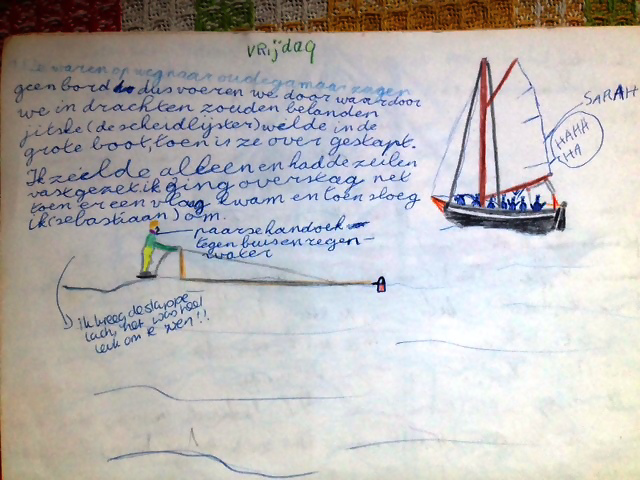 sebas sloeg met zijn eigen kleine zeilbootje de hele tijd om.