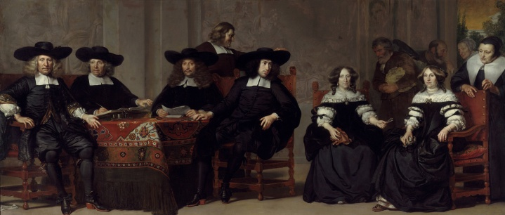 Adriaen Backer (1630-1684), De regenten en regentessen van het Oude Mannen- en Vrouwengasthuis, 1676. 197 x 457 cm. Collectie Amsterdam Museum; inv nr. SA 991. Scan